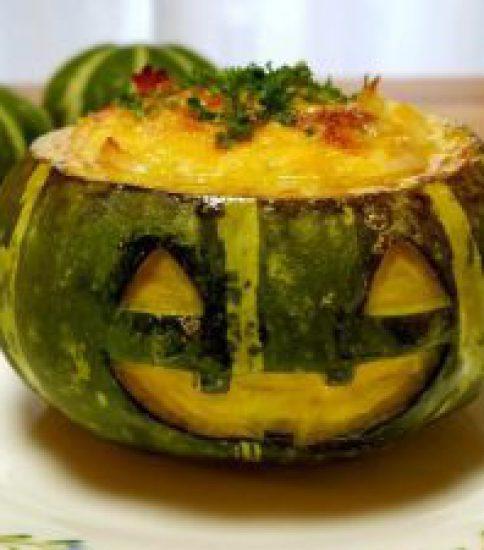 鈴かぼちゃのお化けグラタン